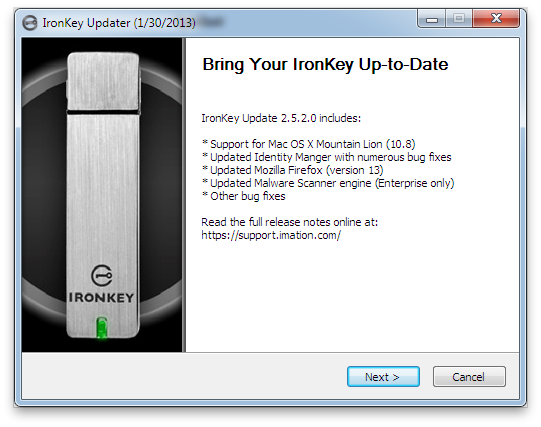 Update your IronKey for OS X...via Windows...