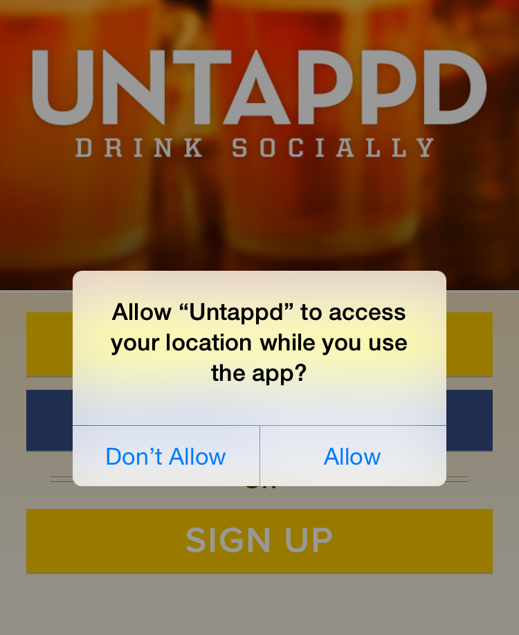 Untappd Location Services Dialog