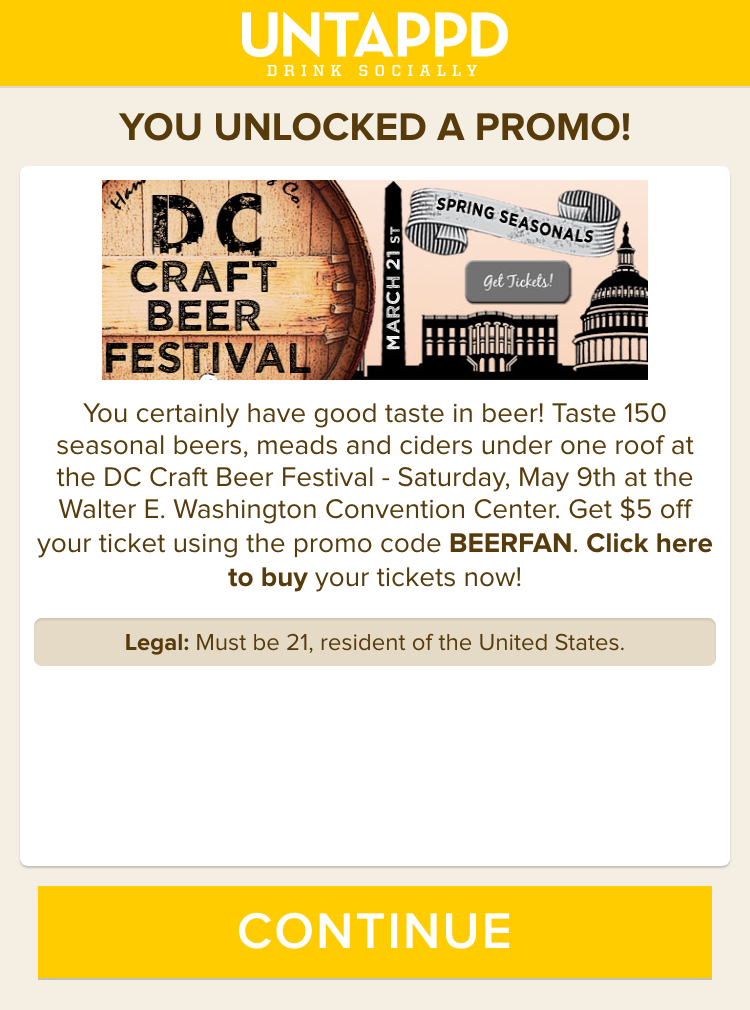 Untappd Promotion for DC Craft Beer Festival